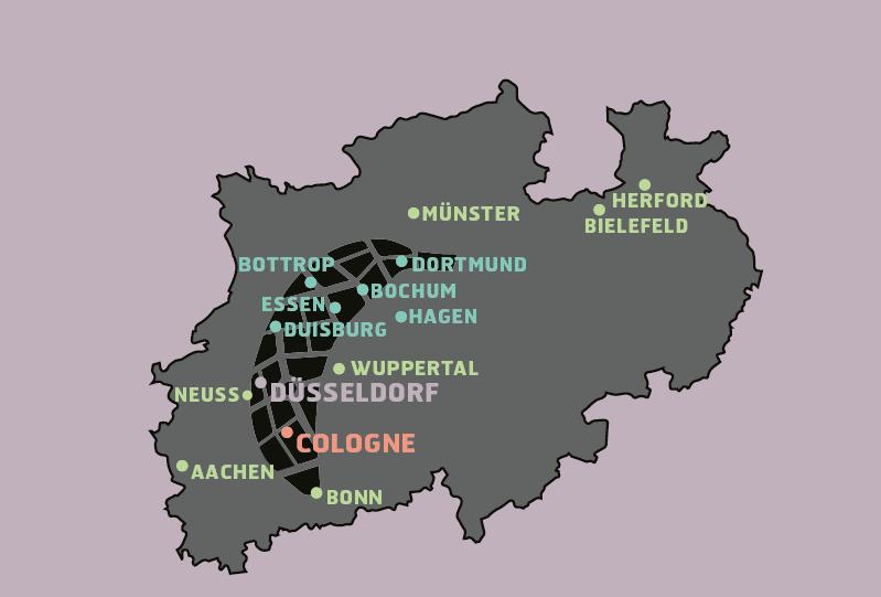 Karte von NRW auf der einige Städte markiert sind. Zwischen Dortmund und Bonn ist eine stylisierte Banane eingezeichnet.