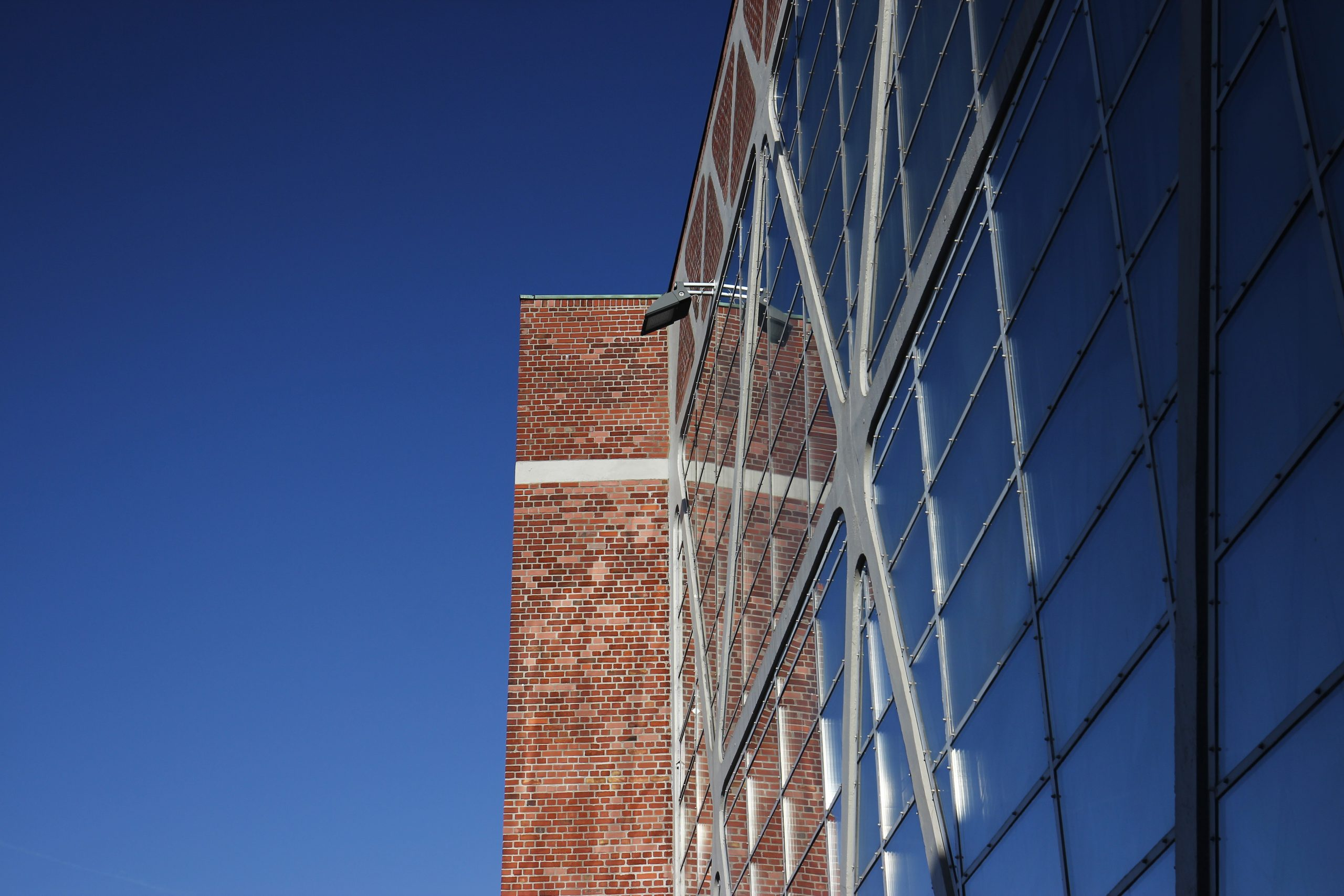 """Detail of the glazed side facade of the """"Holy Cross Church"""" in Bottrop."""