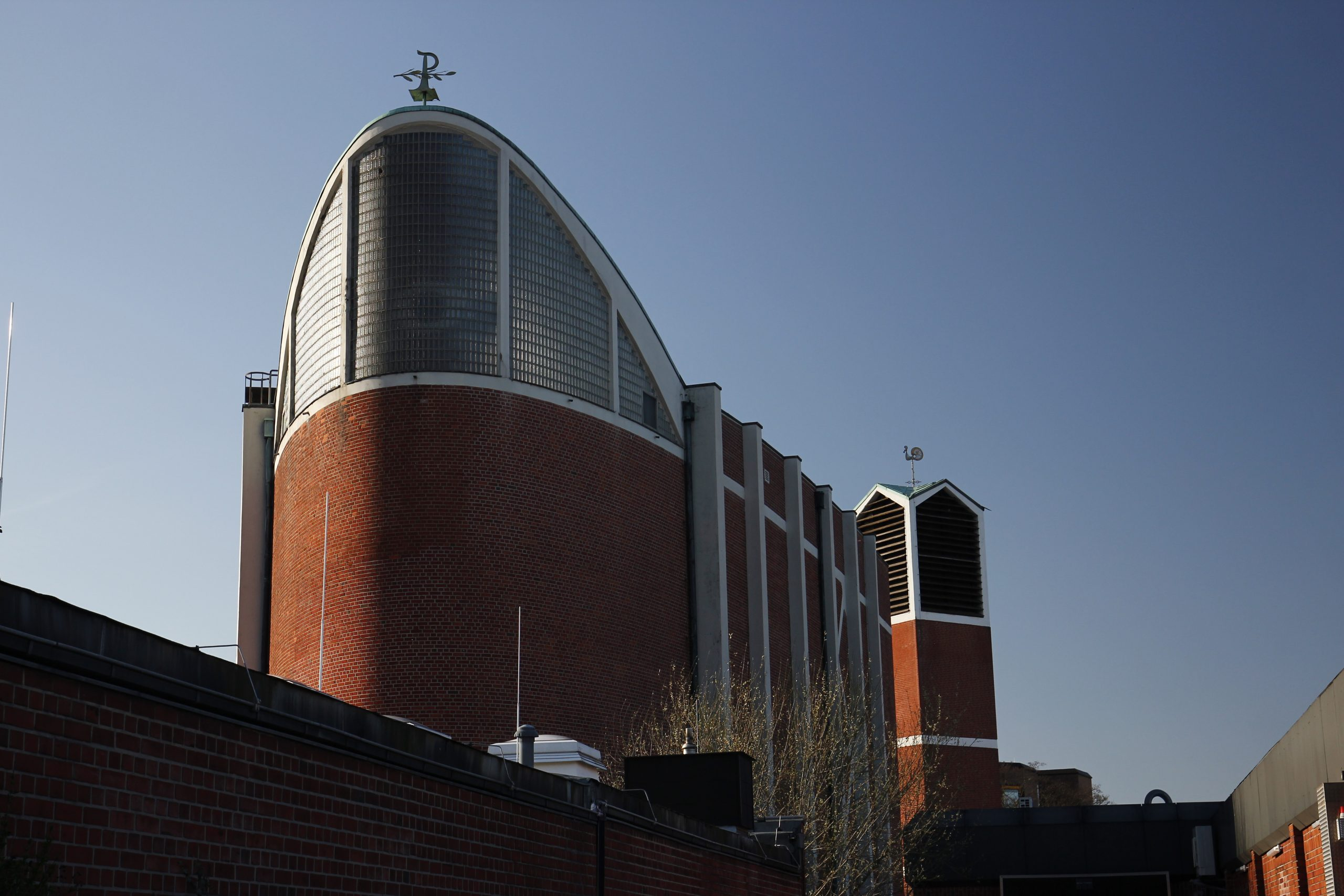 """Exterior view of the nave of the """"Holy Cross Church"""" in Bottrop."""