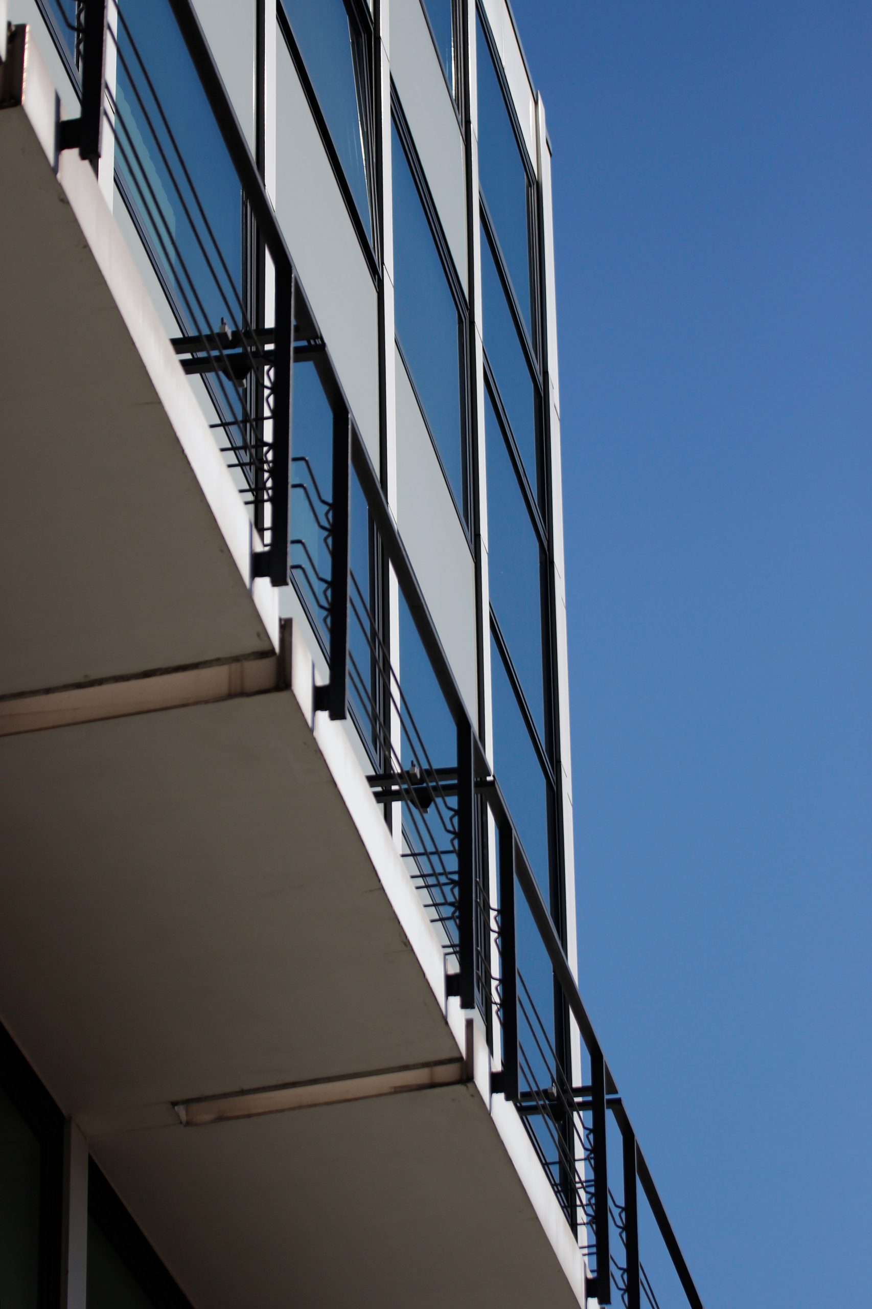 """Facade of the """"Musiktheater im Revier"""" in Gelsenkirchen from a low angle view."""