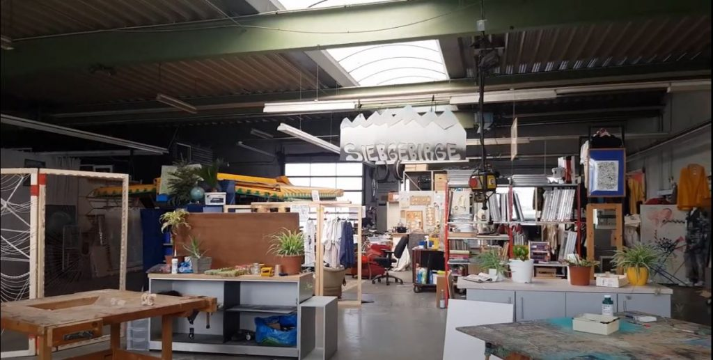 View into the screen printing area